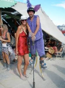 Me with a friendly guy on stilts (mile high club partner not pictured)